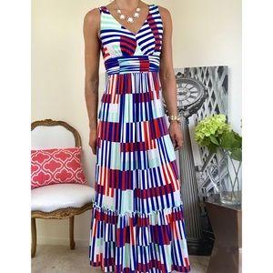 PLENTY Striped V Neck Empire Casual Maxi Dress